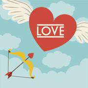 love design over cloudscape background, vector illustration - stock illustration
