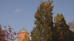 Autumn, dome of the ancient Orthodox church Stock Footage