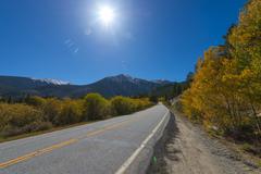 road to aspen colorado in the autumn - stock photo