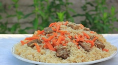 Dish with traditional pilaw Stock Footage