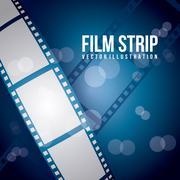 film stripe over blue background. vector illustration - stock illustration