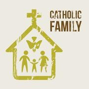 Catholic family over beige background. vector illustration Stock Illustration