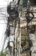 Chaotic street wires, cambodia Stock Photos