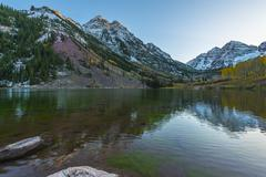 maroon bells sunrise aspen colorado - stock photo