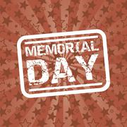 Stock Illustration of memorial day seal over red background. vector illustration