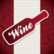 Stock Illustration of wine bottle over red background. vector illustration