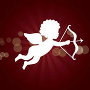 Stock Illustration of cupid isolated over red background. vector illustration