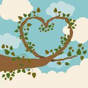 ecology design over cloudscape background, vector illustration - stock illustration
