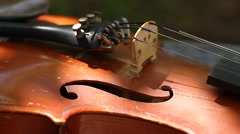Details of an old violin Stock Footage