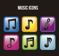 Stock Illustration of music icons over black background. vector illustration