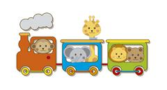 baby animals with train over white backgroun . vector illustration - stock illustration