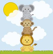 Stock Illustration of baby animals over landscape with clouds . vector illustration