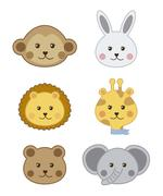 faces baby animals isolated over white background. vector illustration - stock illustration
