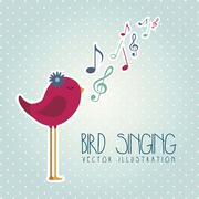 Stock Illustration of bird singing over blue background. vector illustration