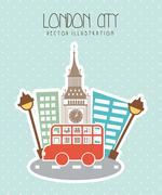 London city with big ben and bus. vector illustration Piirros
