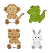 baby animals isolated over white background. vector illustration - stock illustration