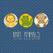 baby shower card with baby animals. vector illustration - stock illustration