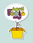 April fools day illustration with surprise box. vector illustration Stock Illustration