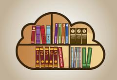 bookshelf of wooden with books. vector illustration - stock illustration