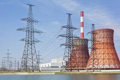 Thermal power station and power line Stock Photos