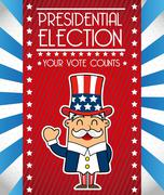 Stock Illustration of presidents day with uncle sam, united states. vector illustration
