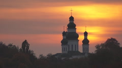 Sunset, the ancient orthodox church Stock Footage