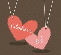 Stock Illustration of valentines day card over brown background. vector illustration