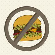 burger prohibited over beige background. vector illustration - stock illustration