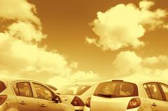 Parked cars toned brown Stock Photos
