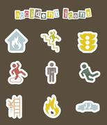 accident icons over brown background. vector illustration - stock illustration