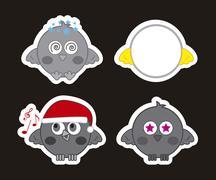 birds icons over black background. vector illustration - stock illustration