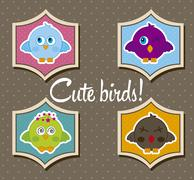 birds icons with labels over brown background. vector illustration - stock illustration