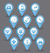 Blue medical icons over gray background. vector  illustration Stock Illustration