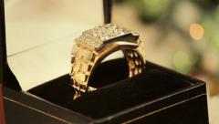 Gold Ring With Diamonds Rotating Stock Footage