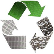 recycle paper glass and tin - stock illustration