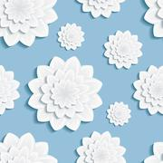 Seamless pattern blue with 3d flower chrysanthemum Stock Illustration