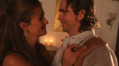 Stock Video Footage of Couple dancing by candlelight