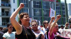 Aboriginal G20 protest in Brisbane  - stock photo