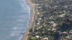 Aerial view of Paekakariki Beach settlement Stock Footage