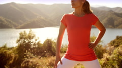 Woman doing stretching exercises Stock Footage