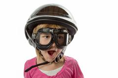 ready for anything - girl with helmet and goggles - stock photo