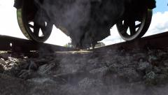Overhead shot of steam engine locomotive Stock Footage