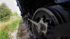 Pov view of locomotive wheels. retro vintage background Stock Footage