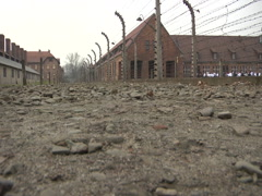 Auschwitz Low angle of Fence - stock footage
