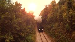 Flying over nostalgic steam engine locomotive. retro vintage background Stock Footage