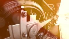moving wheels of steam engine locomotive. vintage retro background - stock footage