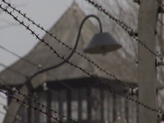 Auschwitz Barbwire Fence Shallow Focus Stock Footage
