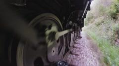 Moving steam engine train locomotive. nostalgic retro transportation background Stock Footage