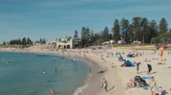 Swimming and Sunbathing at Cottesloe Beach in Perth, Western Australia Stock Footage