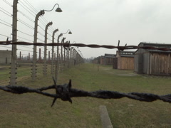 Birkenau Barbwire Fence CU - stock footage